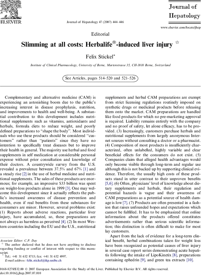 Slimming at all costs: Herbalife®-induced liver injury ...